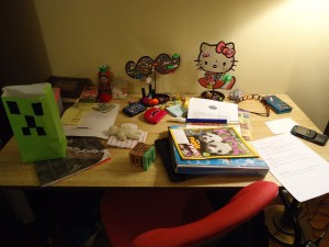 The 11 year old's desk