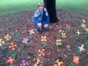 Seth plants his flower.