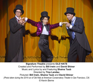 Signature Theatre presents OLD HATS Created and Performed by Bill Irwin and David Shiner Music and Lyrics by and Featuring Shaina Taub Directed by Tina Landau Pictured: Bill Irwin, Shaina Taub and David Shiner (Photo taken during the 2014 run of Old Hats at American Conservatory Theater in San Francisco, CA)