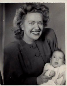(Monica as a baby with her mother.)